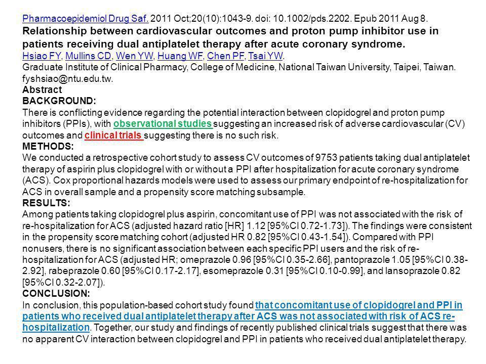 Pharmacoepidemiol Drug Saf. 2011 Oct;20(10):1043-9. doi: 10. 1002/pds
