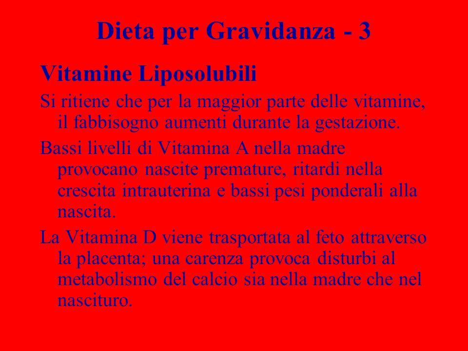 Dieta per Gravidanza - 3 Vitamine Liposolubili