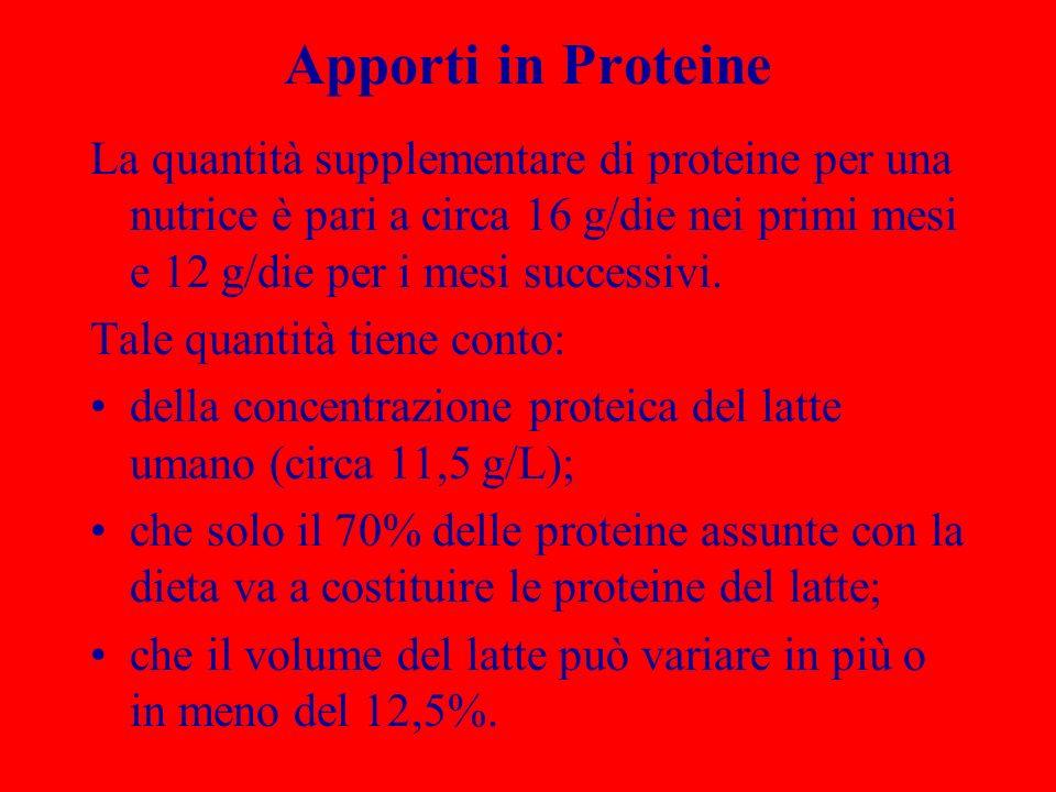 Apporti in Proteine La quantità supplementare di proteine per una nutrice è pari a circa 16 g/die nei primi mesi e 12 g/die per i mesi successivi.