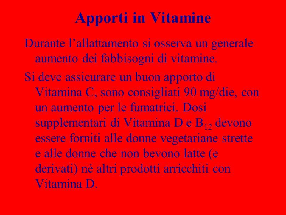 Apporti in VitamineDurante l'allattamento si osserva un generale aumento dei fabbisogni di vitamine.