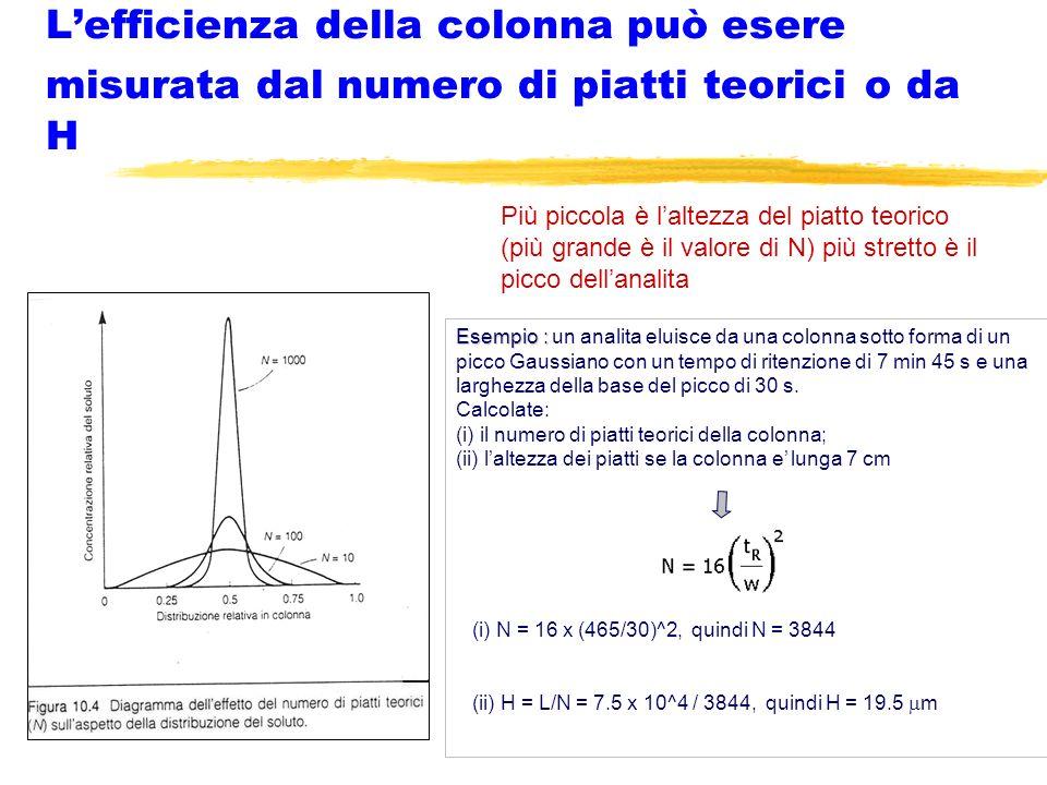 L'efficienza della colonna può esere misurata dal numero di piatti teorici o da H