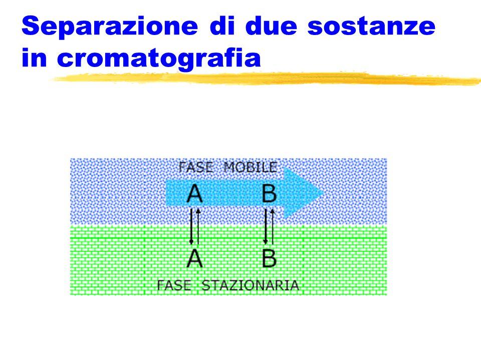 Separazione di due sostanze in cromatografia