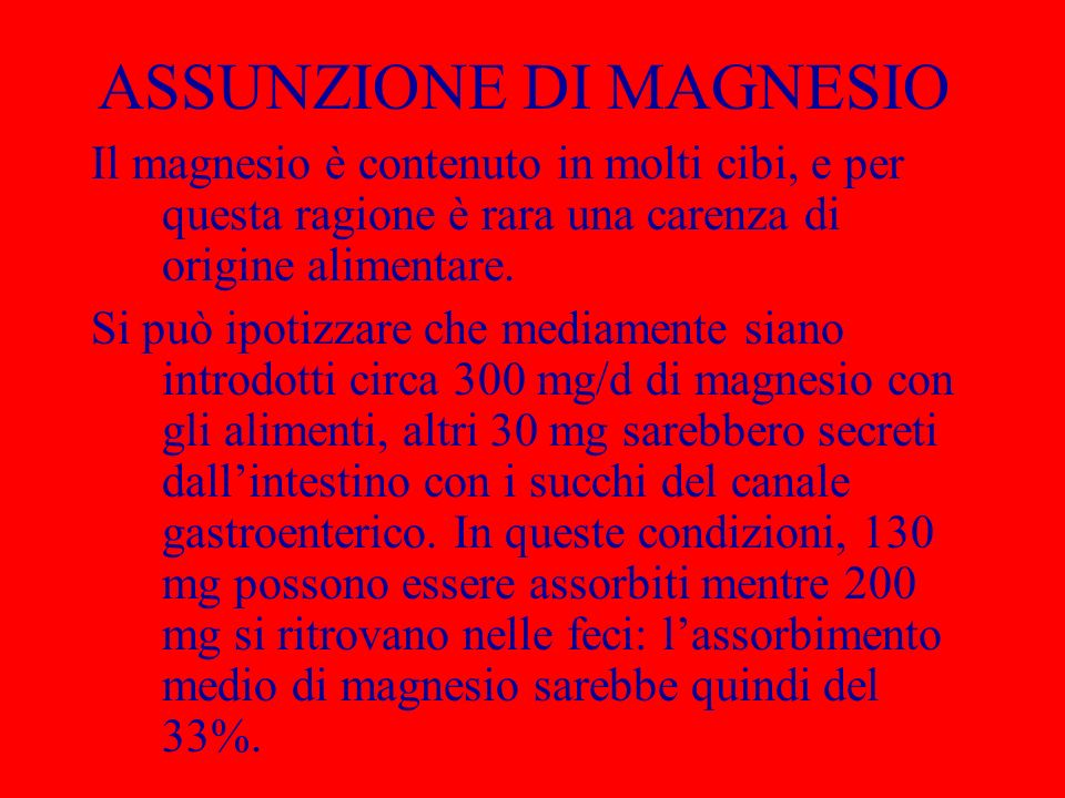 ASSUNZIONE DI MAGNESIO