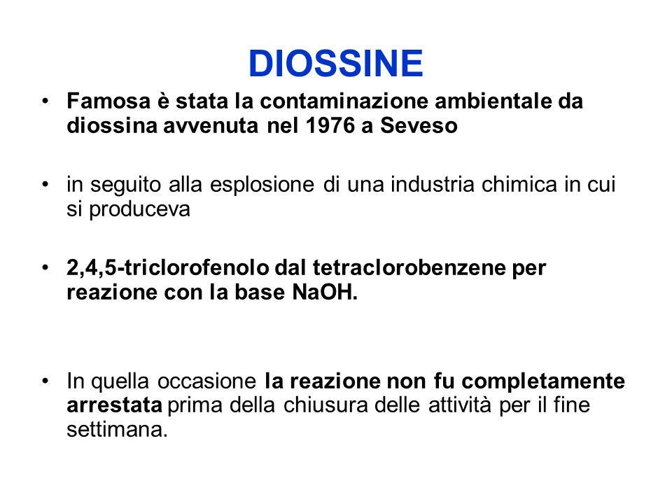 DIOSSINE Famosa è stata la contaminazione ambientale da diossina avvenuta nel 1976 a Seveso.