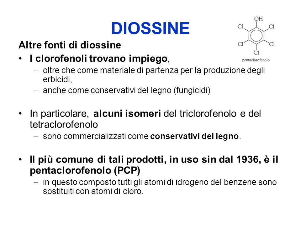 DIOSSINE Altre fonti di diossine I clorofenoli trovano impiego,