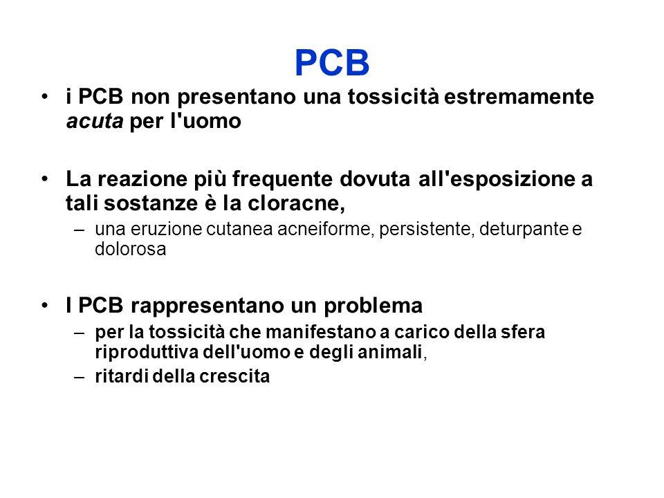 PCB i PCB non presentano una tossicità estremamente acuta per l uomo