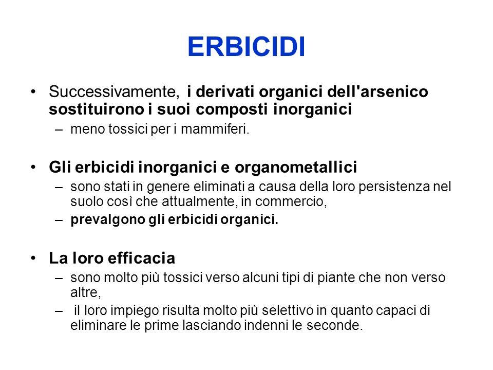 ERBICIDI Successivamente, i derivati organici dell arsenico sostituirono i suoi composti inorganici.
