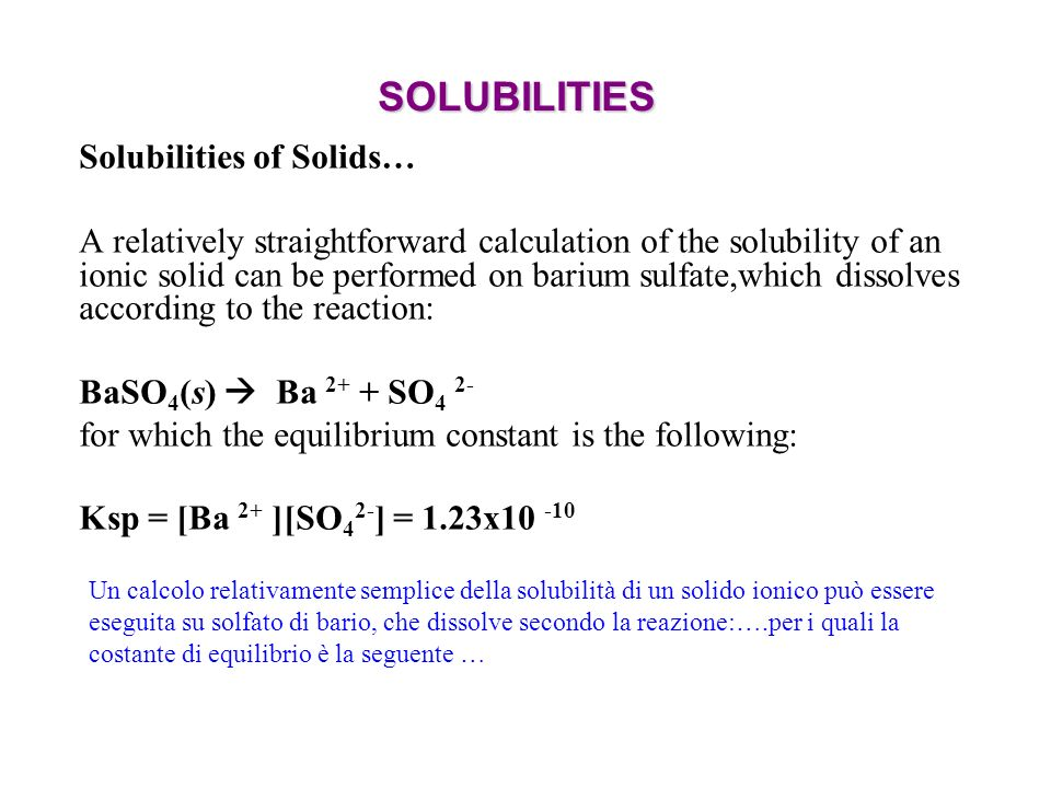 SOLUBILITIES Solubilities of Solids…