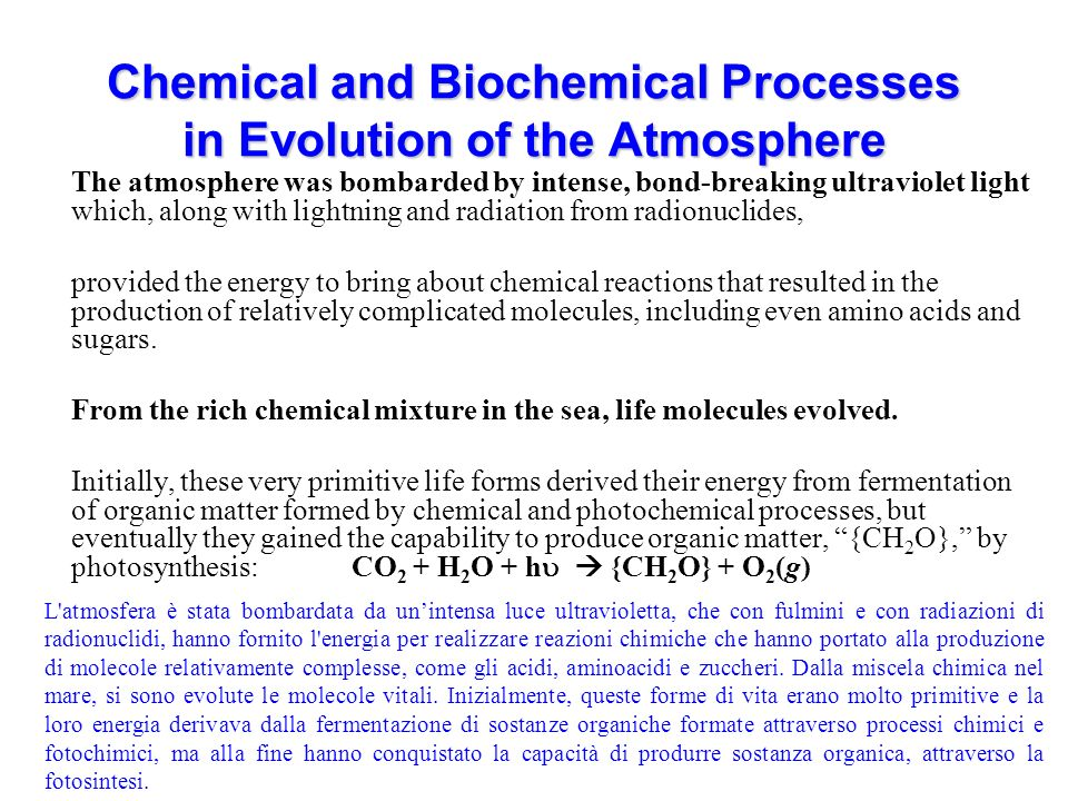 Chemical and Biochemical Processes in Evolution of the Atmosphere