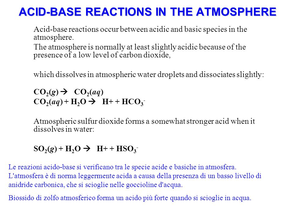 ACID-BASE REACTIONS IN THE ATMOSPHERE