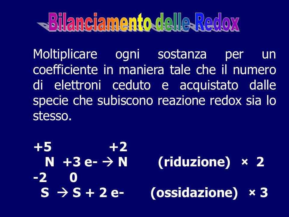 S  S + 2 e- (ossidazione) × 3