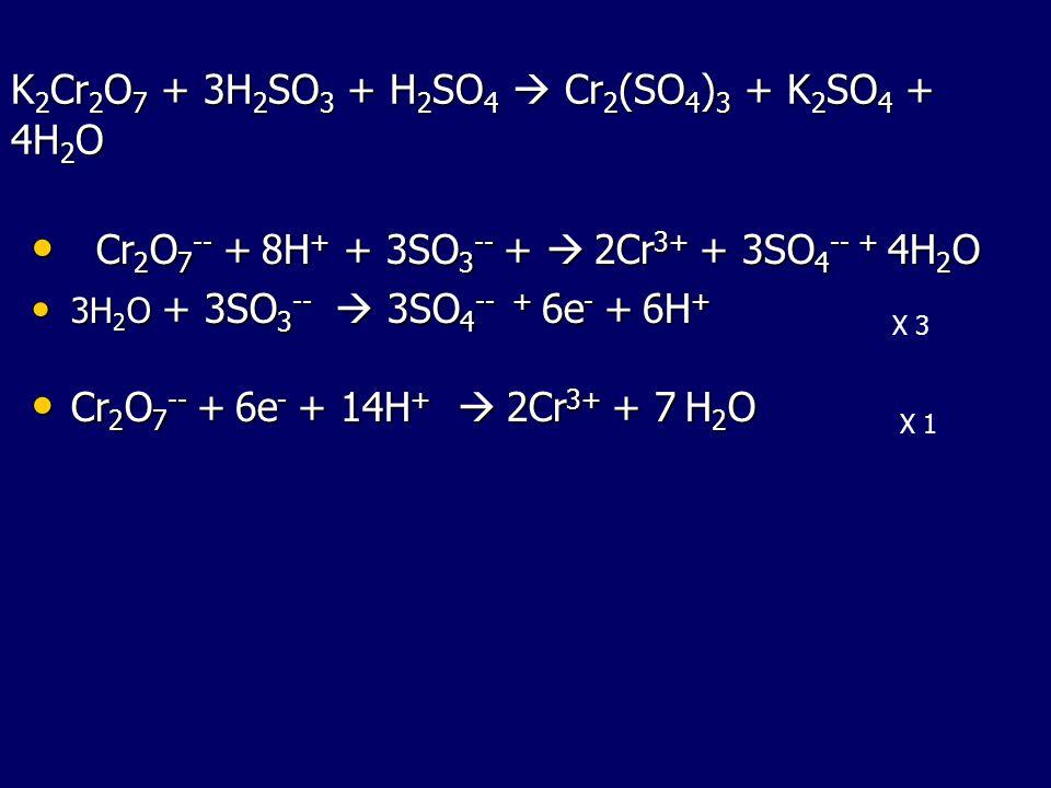 K2Cr2O7 + 3H2SO3 + H2SO4  Cr2(SO4)3 + K2SO4 + 4H2O