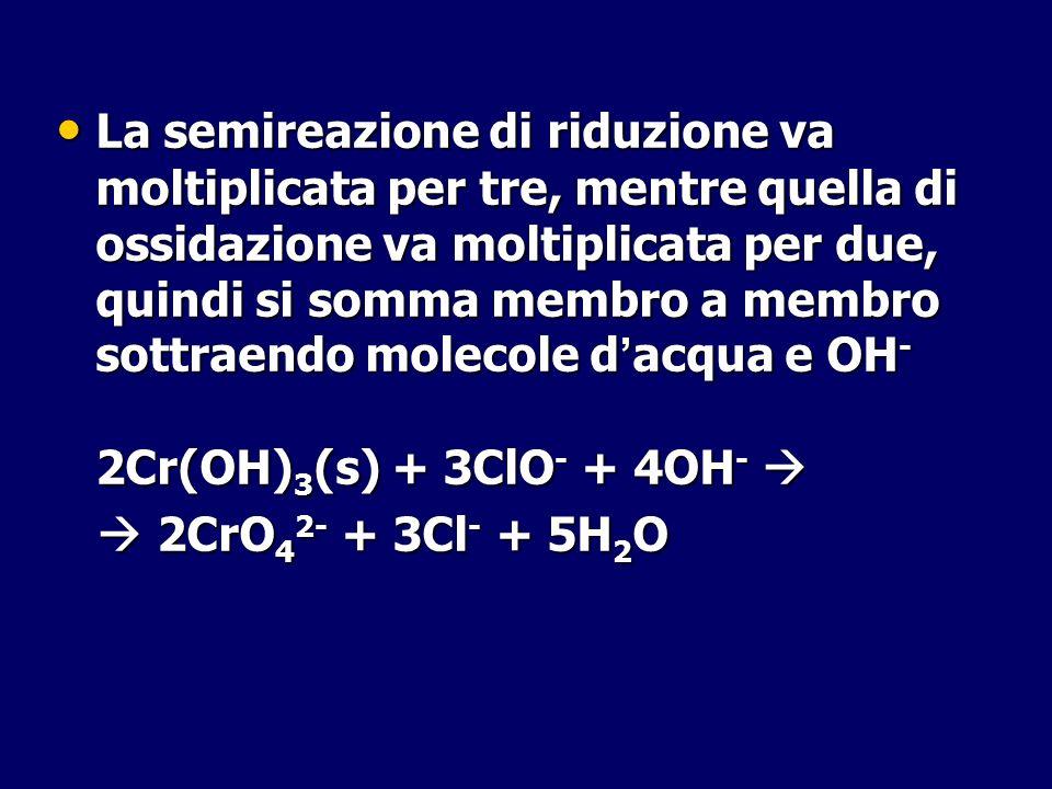 La semireazione di riduzione va moltiplicata per tre, mentre quella di ossidazione va moltiplicata per due, quindi si somma membro a membro sottraendo molecole d'acqua e OH-
