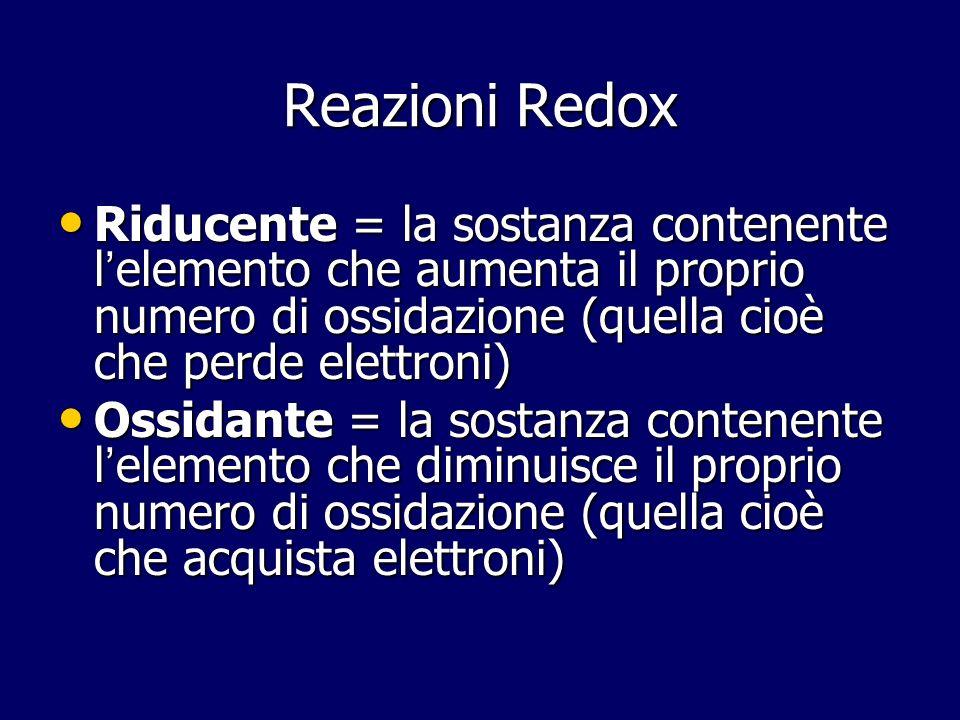 Reazioni Redox Riducente = la sostanza contenente l'elemento che aumenta il proprio numero di ossidazione (quella cioè che perde elettroni)