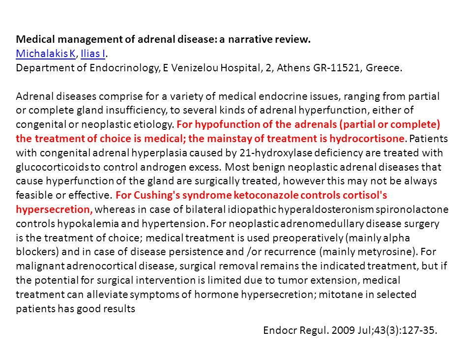 Medical management of adrenal disease: a narrative review.