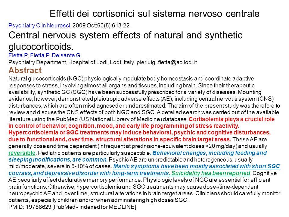 Effetti dei cortisonici sul sistema nervoso centrale