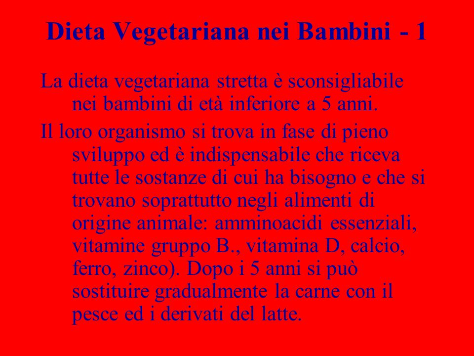Dieta Vegetariana nei Bambini - 1