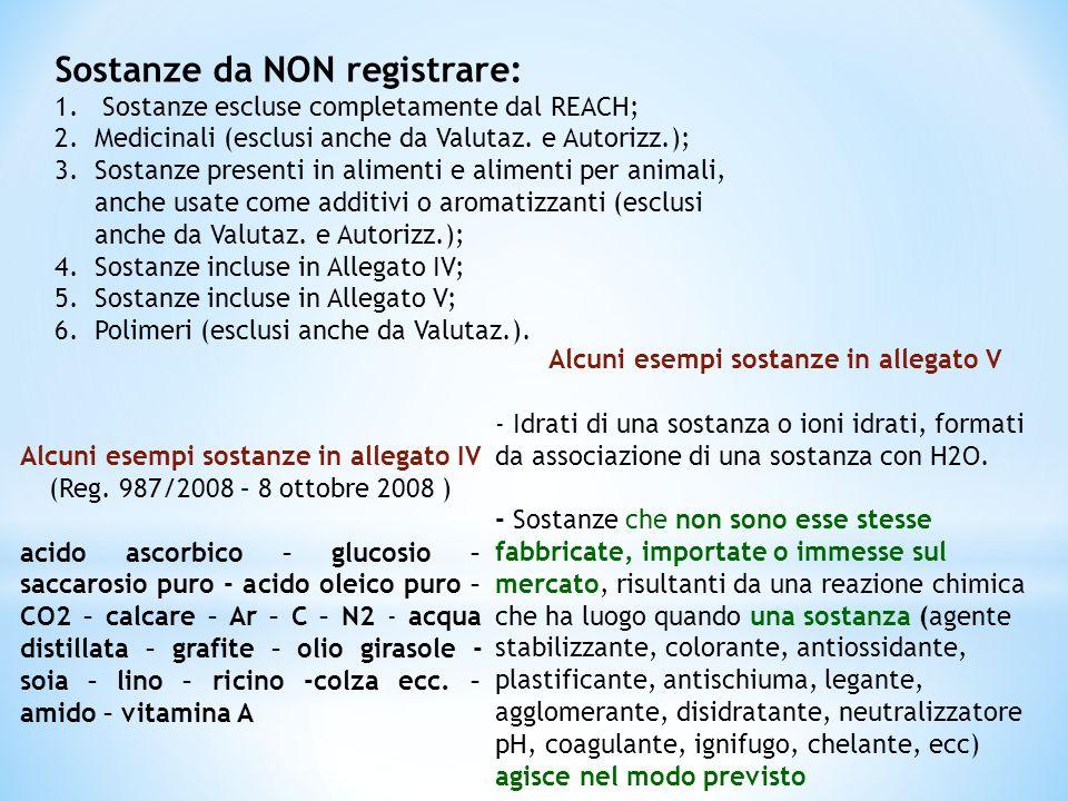 Alcuni esempi sostanze in allegato V