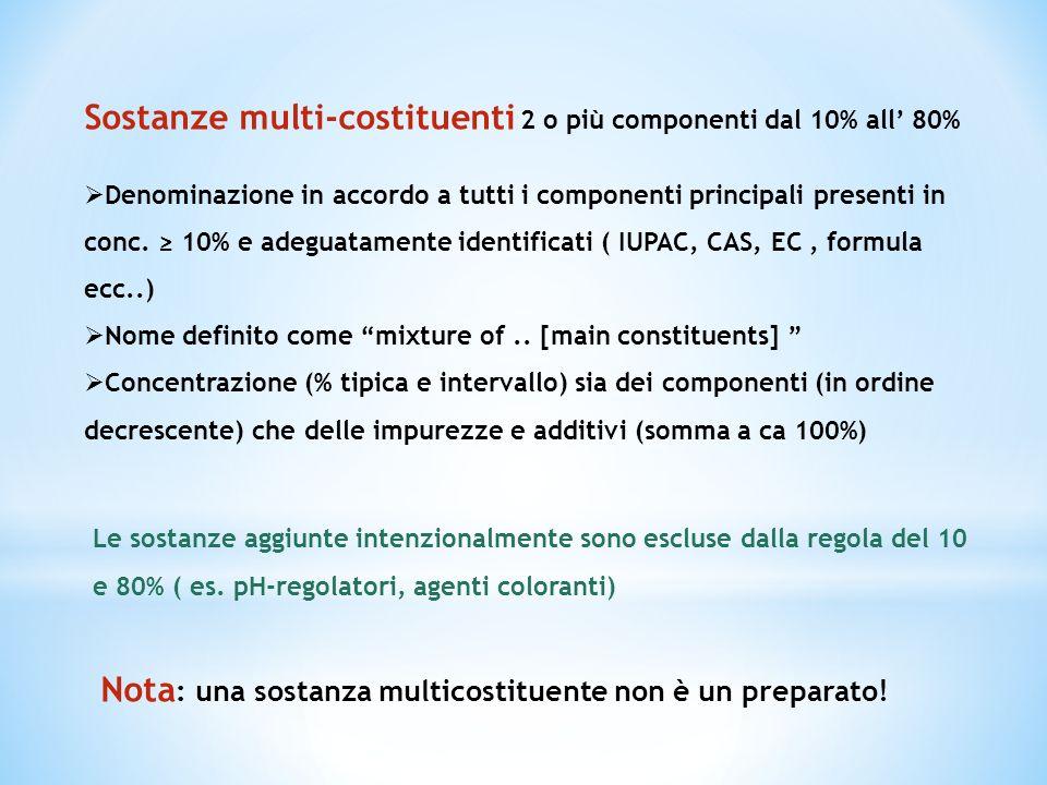 Sostanze multi-costituenti 2 o più componenti dal 10% all' 80%