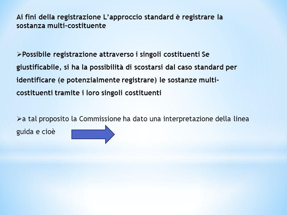 Ai fini della registrazione L'approccio standard è registrare la sostanza multi-costituente