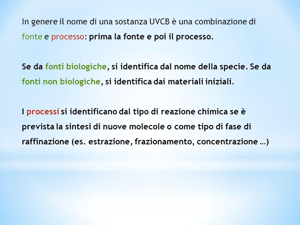 In genere il nome di una sostanza UVCB è una combinazione di fonte e processo: prima la fonte e poi il processo.