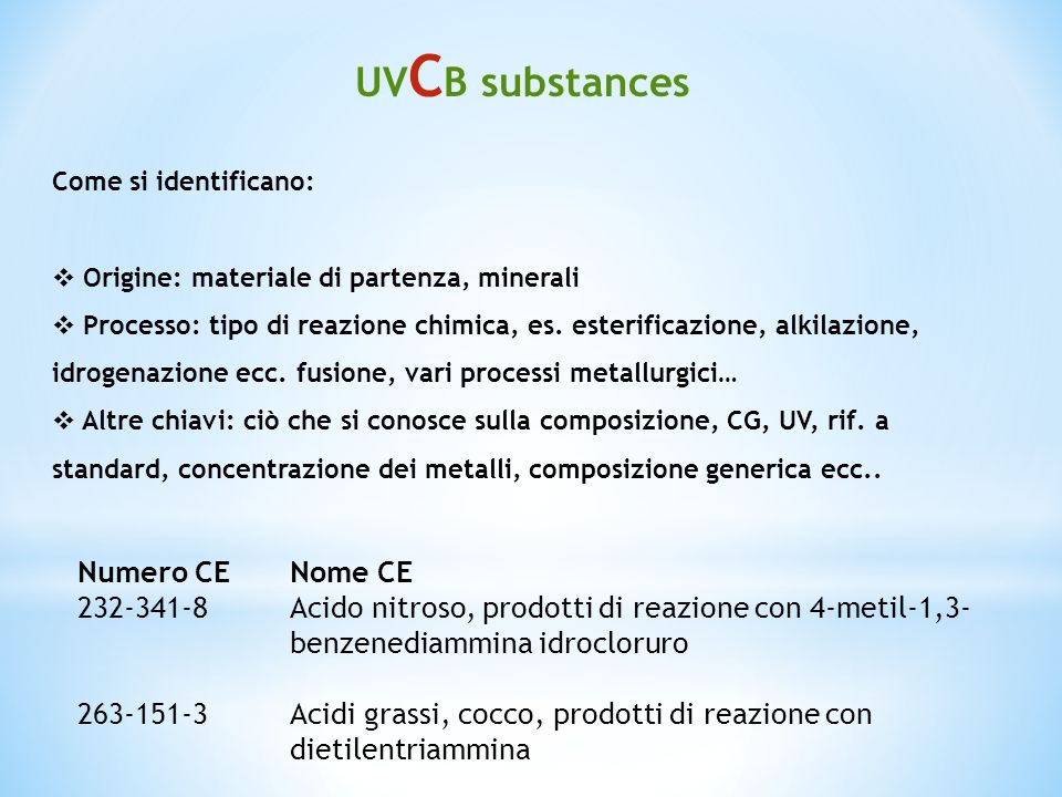 UVCB substances Numero CE Nome CE