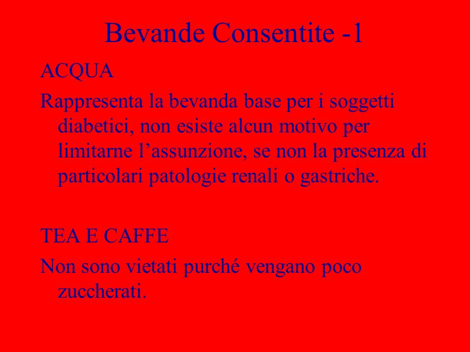 Bevande Consentite -1 ACQUA