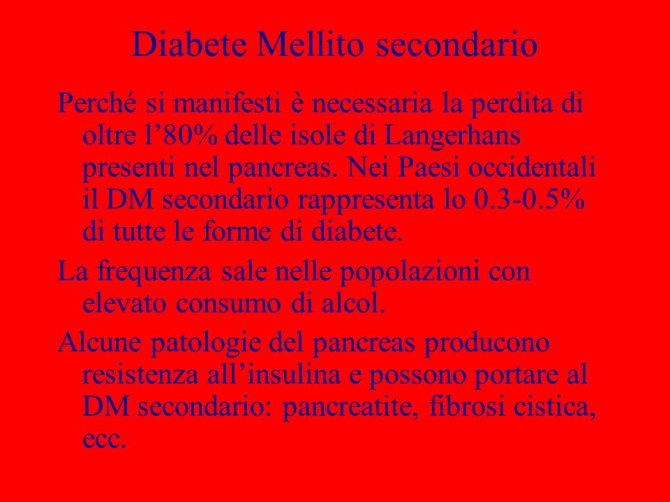 Diabete Mellito secondario