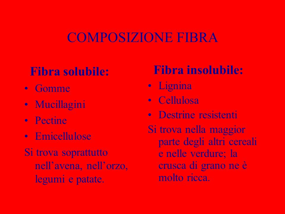 COMPOSIZIONE FIBRA Fibra solubile: Gomme Mucillagini Pectine