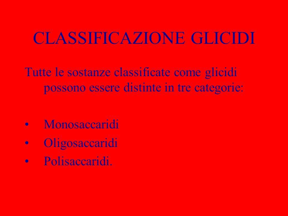 CLASSIFICAZIONE GLICIDI