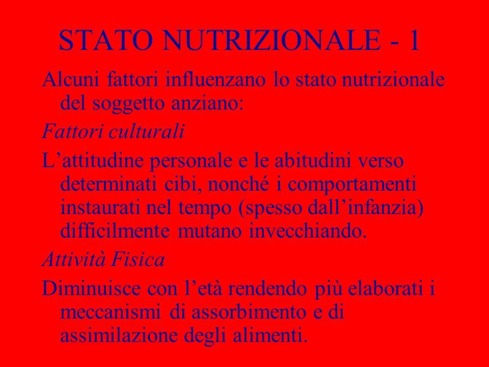 STATO NUTRIZIONALE - 1 Alcuni fattori influenzano lo stato nutrizionale del soggetto anziano: Fattori culturali.