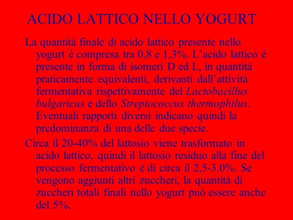 ACIDO LATTICO NELLO YOGURT