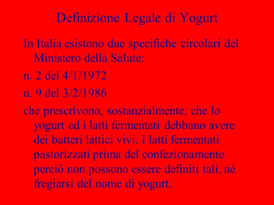 Definizione Legale di Yogurt