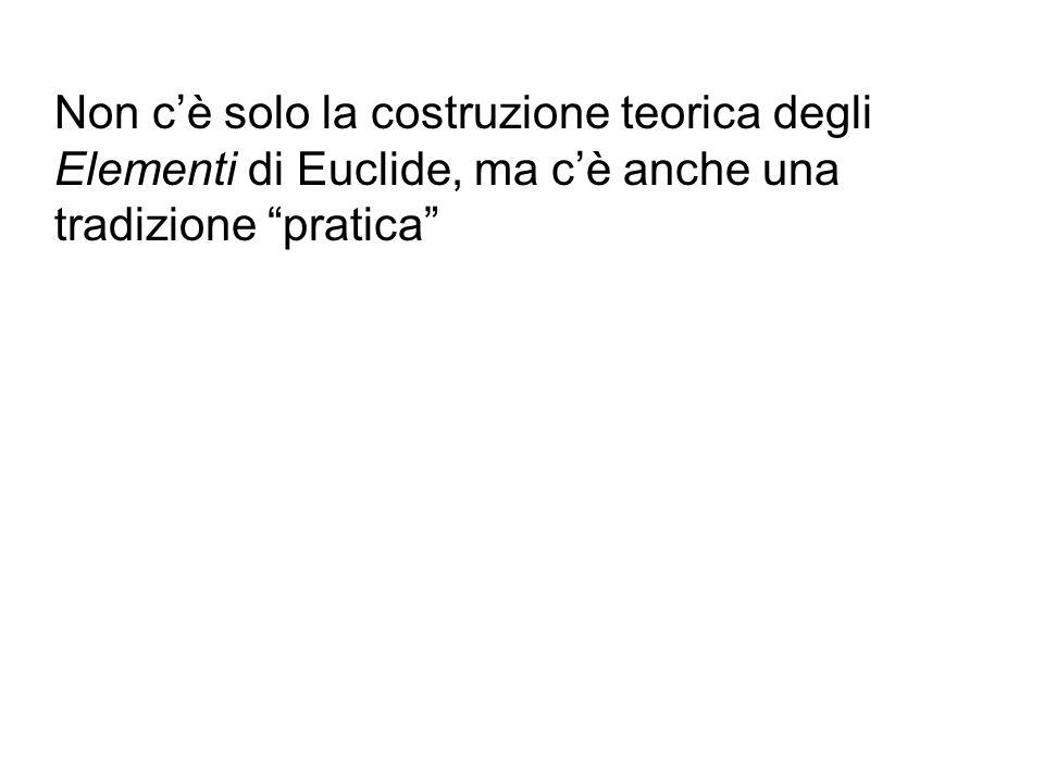 Non c'è solo la costruzione teorica degli Elementi di Euclide, ma c'è anche una tradizione pratica