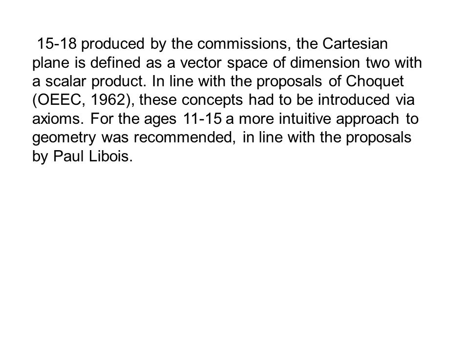 15-18 produced by the commissions, the Cartesian plane is defined as a vector space of dimension two with a scalar product.