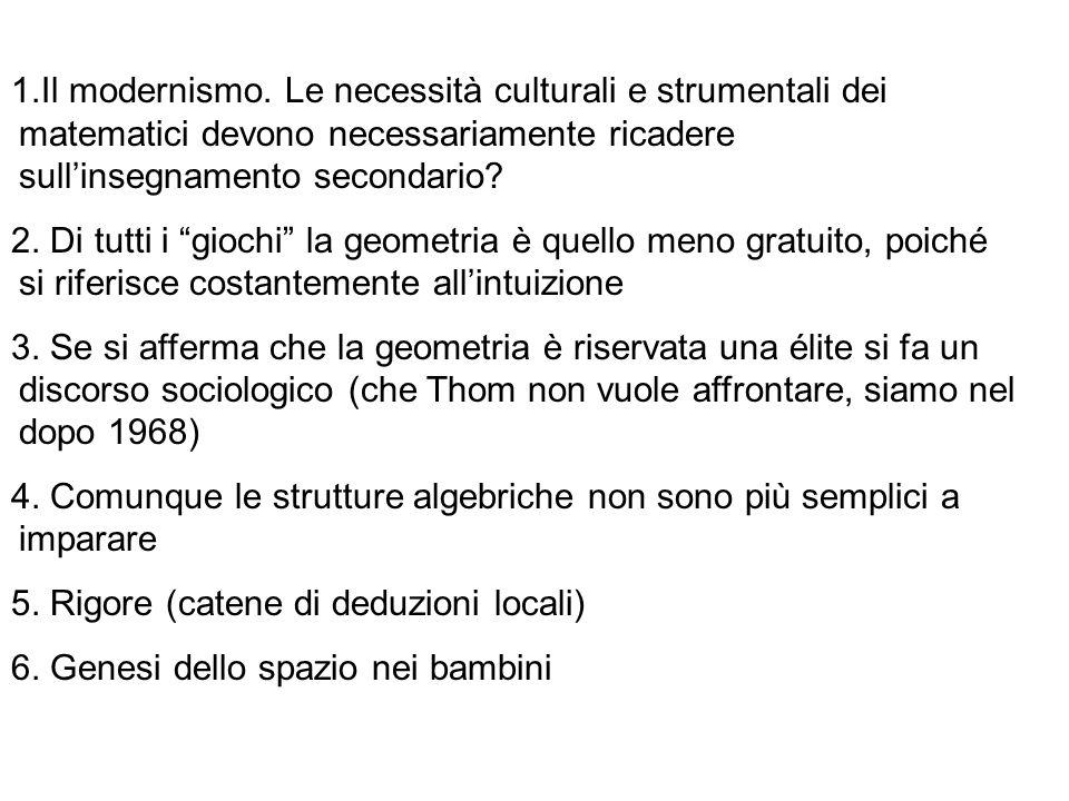 Il modernismo. Le necessità culturali e strumentali dei matematici devono necessariamente ricadere sull'insegnamento secondario