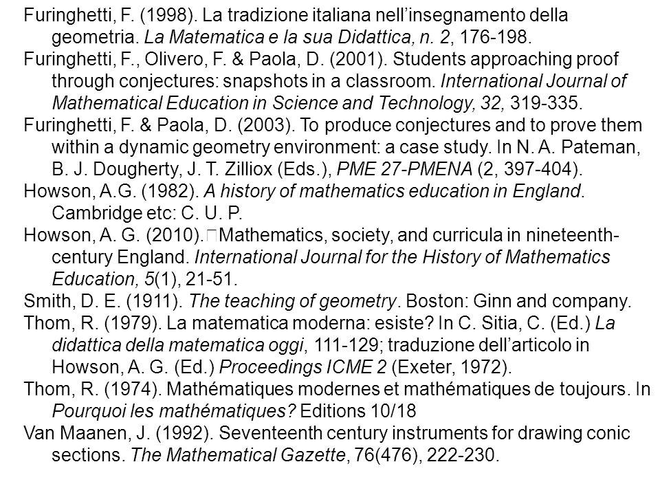 Furinghetti, F. (1998). La tradizione italiana nell'insegnamento della geometria. La Matematica e la sua Didattica, n. 2, 176-198.