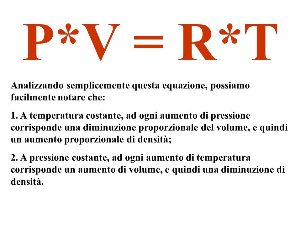 P*V = R*T Analizzando semplicemente questa equazione, possiamo facilmente notare che: