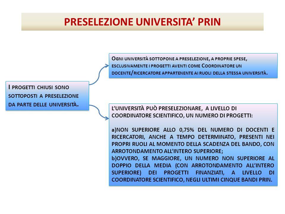 PRESELEZIONE UNIVERSITA' PRIN