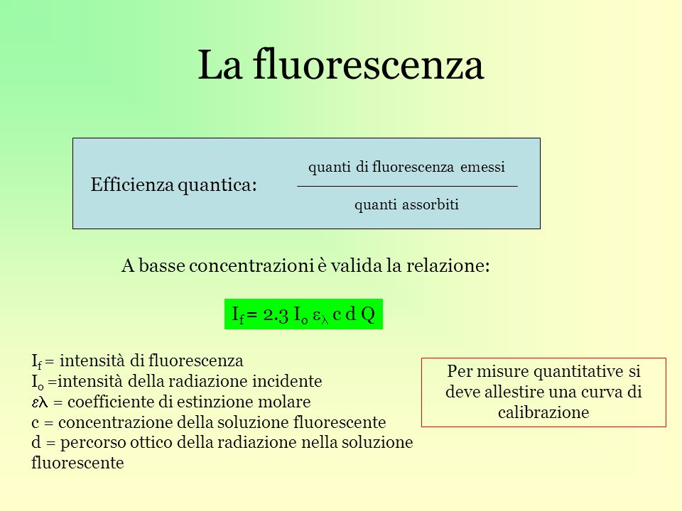 La fluorescenza Efficienza quantica: