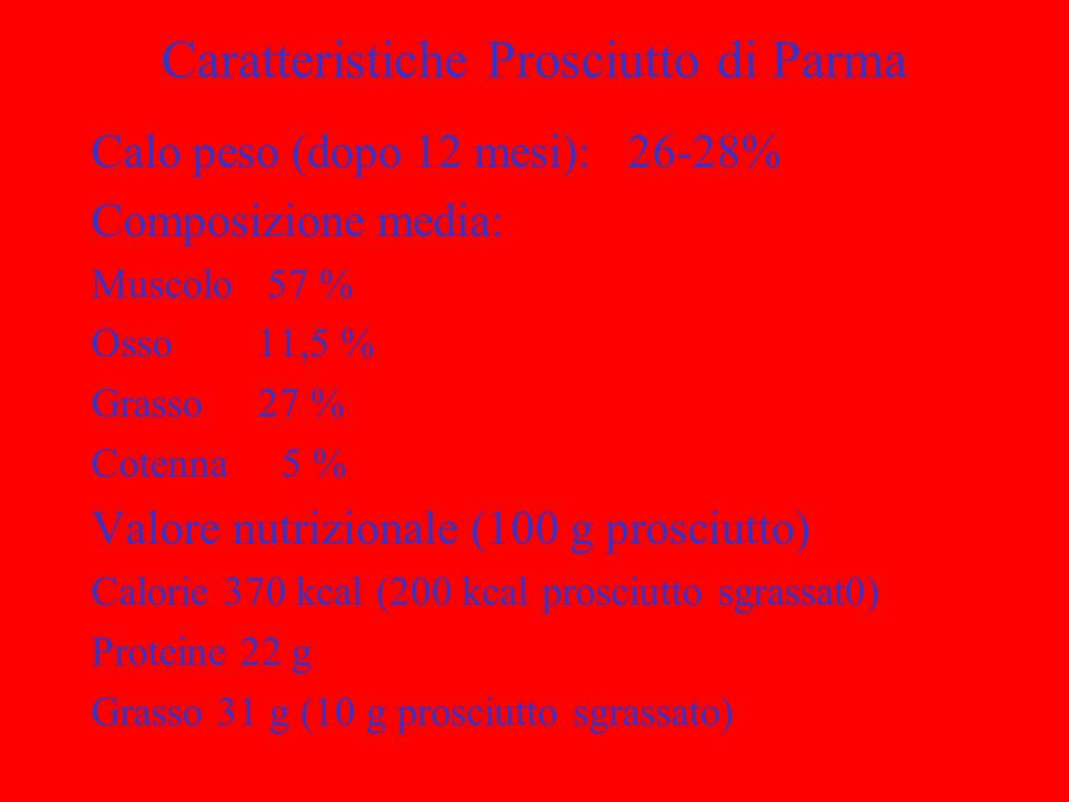 Caratteristiche Prosciutto di Parma