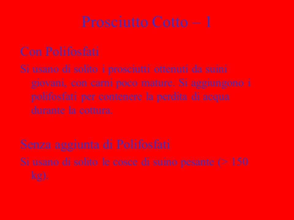 Prosciutto Cotto – 1 Con Polifosfati Senza aggiunta di Polifosfati