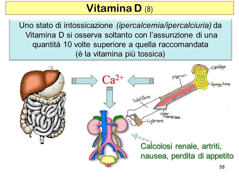 Vitamina D (8) Uno stato di intossicazione (ipercalcemia/ipercalciuria) da.