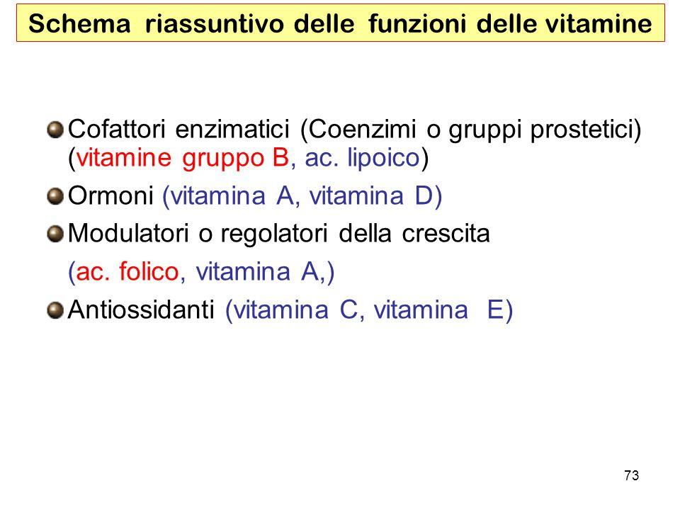 Schema riassuntivo delle funzioni delle vitamine