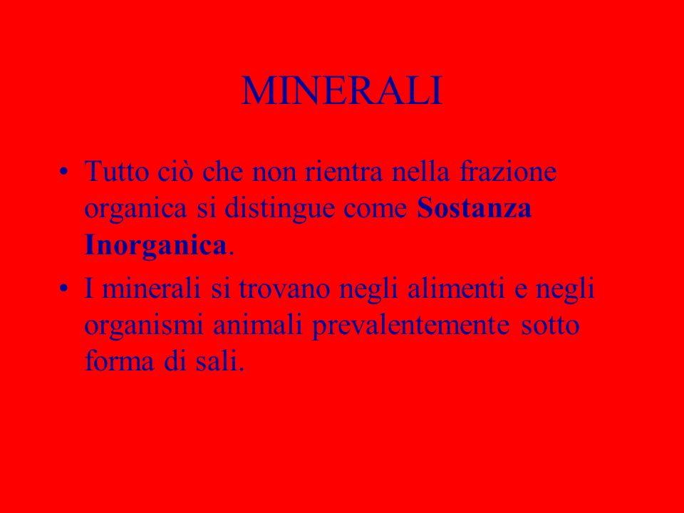MINERALI Tutto ciò che non rientra nella frazione organica si distingue come Sostanza Inorganica.