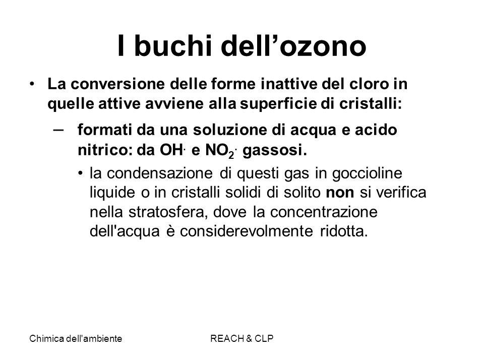 I buchi dell'ozono La conversione delle forme inattive del cloro in quelle attive avviene alla superficie di cristalli: