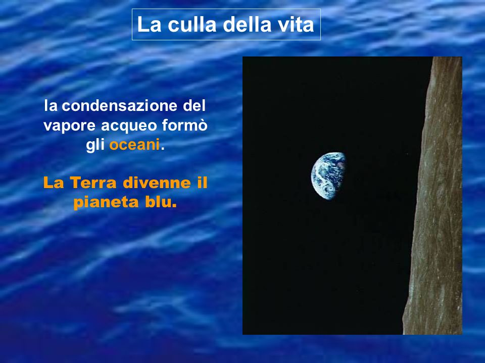 La culla della vitala condensazione del vapore acqueo formò gli oceani.