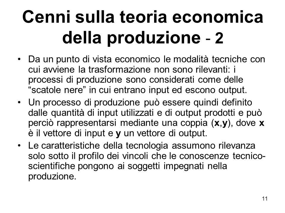 Cenni sulla teoria economica della produzione - 2