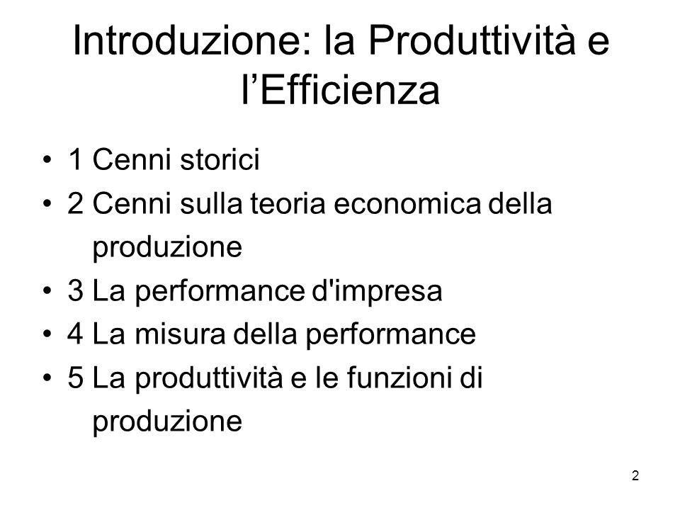 Introduzione: la Produttività e l'Efficienza