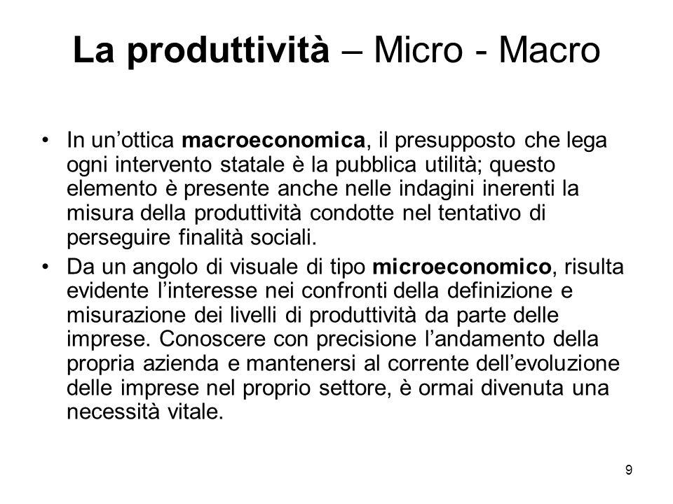 La produttività – Micro - Macro